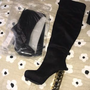Black Thigh High Boots w/ Gold Cage Heel